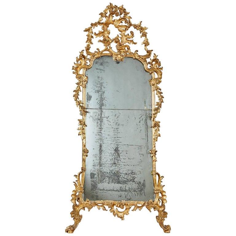Mid-18th Century Italian Giltwood Pier Rococo Mirror For Sale