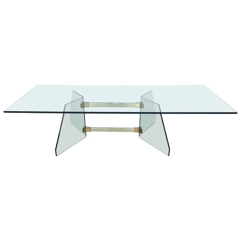 Brass and Glass Coffee Table in the Style of Fontana Arte