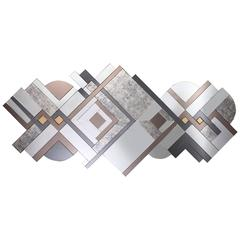 Huge Art Deco-Inspired Lemprica Multicolored Clear, Bronze, Smoked, Brass Mirror