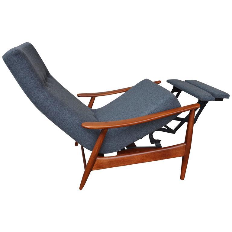Danish modern walnut gray wool lazy boy recliner at 1stdibs for Boys lounge chair