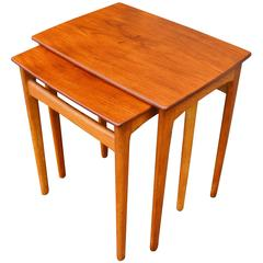 Pair of Svend Madsen Teak and Oak Nesting Tables