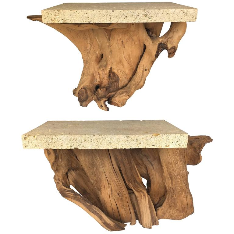 Pair of Iconic Fossil Stone Side Tables by Michael Taylor 1