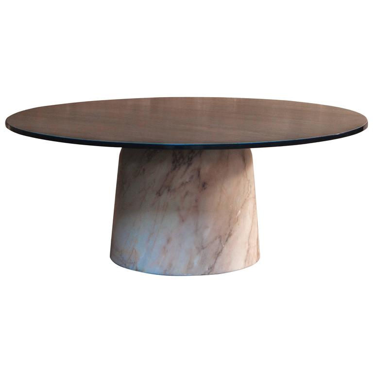 European Modern Marble And Timber Round Coffee Table From France For Sale At 1stdibs