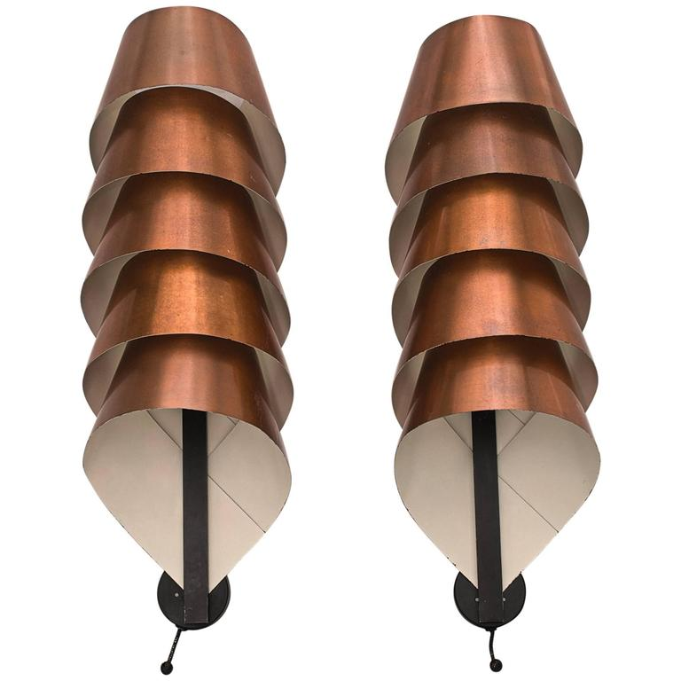 A Pair of Beautiful Hans Agne Jakobsson Copper Wall Sconces