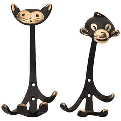 Walter Bosse Cat and Monkey Wall Hooks