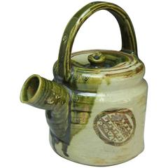 Japan Antique Oribe Flower Water Vessel Tea Pot Fine Handcrafted Creamy Glazes