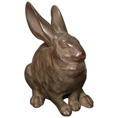 Big Eared Bunny Rabbit, Japanese Vintage Cast Bronze with Fine Details