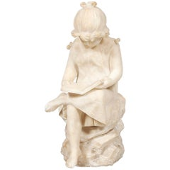 19th Century White Marble Statue of a Young Girl Sitting Reading