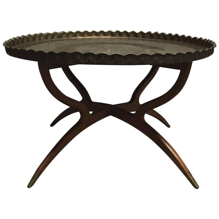 Hammered Coffee Table Tray: Moroccan Hand-Hammered Brass Bedouin Tray Table At 1stdibs