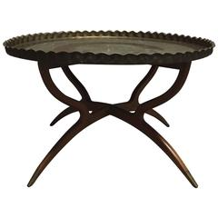 Moroccan Hand-Hammered Brass Bedouin Tray Table