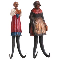 Pair of Black Forest Figural Carved Wall Hooks, 19th Century