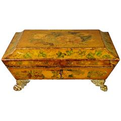19th Century English Regency Penwork Games Box Floral Lacquered, circa 1810
