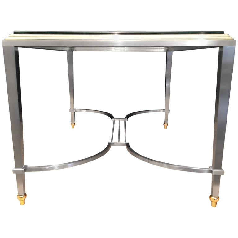 Italian Brass and Steel Coffee Table, 1950s