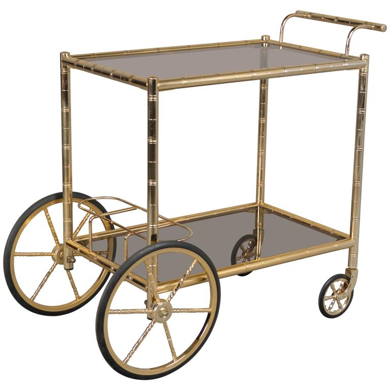 Mid-Century French Brass Bamboo Bar Cart