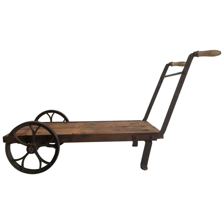 1860 Industrial Vintage Trolley, Wheelbarrow Or Cart Steel Wheeled Coffee  Table 1