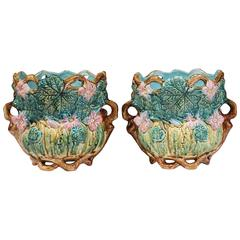 Pair of 19th Century, French, Hand-Painted Barbotine Cache Pots with Leaves