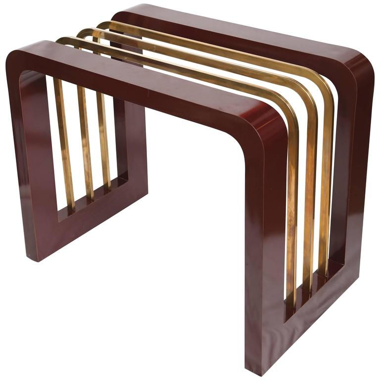 Burgundy High Gloss Formica and Brass Dining Table or Desk For Sale