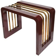 Burgundy High Gloss Formica and Brass Dining Table or Desk