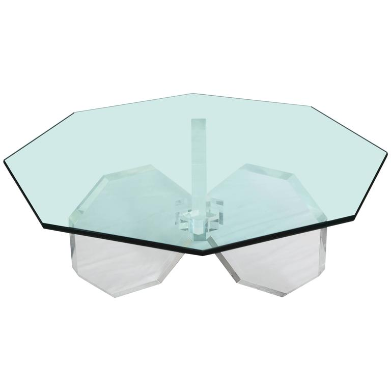 1970s Three Thick Lucite Octagon Shaped Coffee Table with Octagonal Glass 1