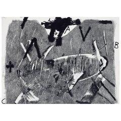 """Antoni Tàpies """"Lletres i Gris"""" Etching"""