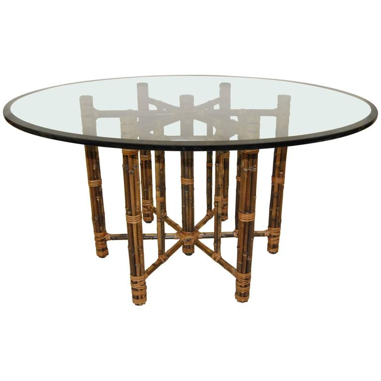Glass Top Rattan Round Dining Table by McGuire at 1stdibs : 6983753l from www.1stdibs.com size 768 x 768 jpeg 32kB