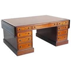 Unusual Large 19th Century Mahogany Partners Desk