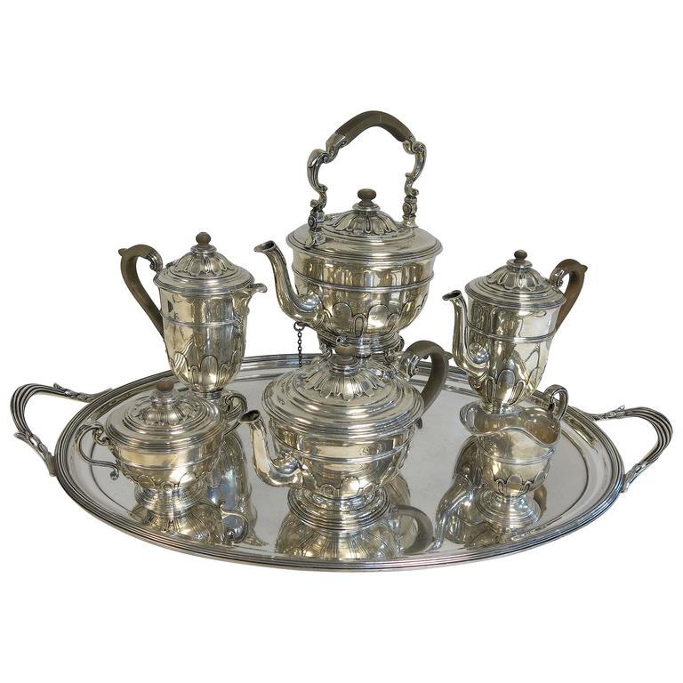 Sterling Silver Tea and Coffee Set with Tilting Kettle and Tray