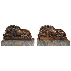 Pair of 19th Century French Bronze Lions on Marble Bases Signed J. Moigniez