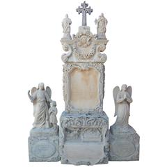 Stunning and Rare Gothic Ornamental Stele Sculpted in French Limestone