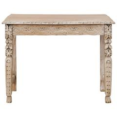 Italian 19th Century Small Intricately Carved Console Table of Bleached Wood