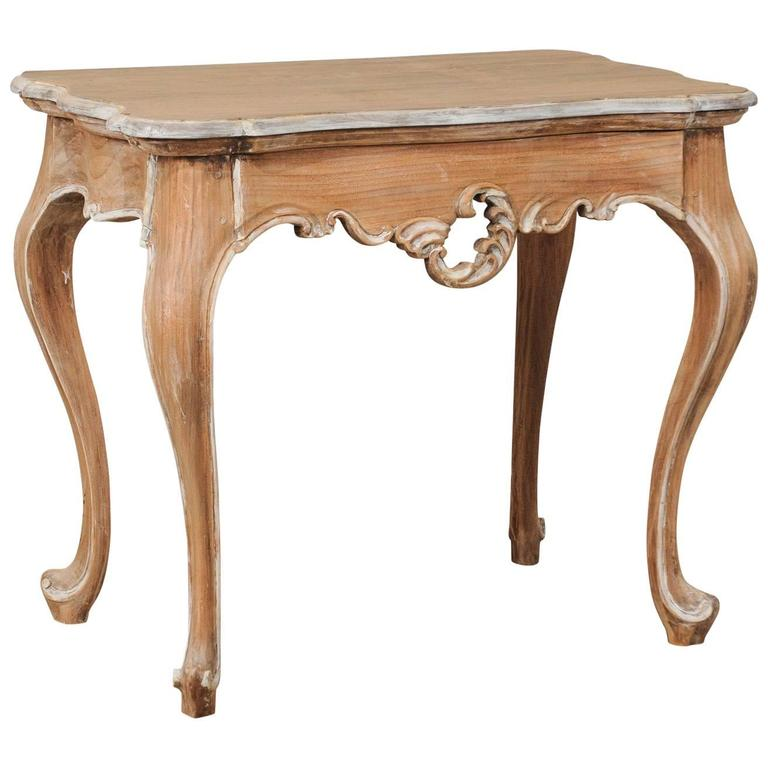 Lovely Brazilian Accent Table of Natural Wood with Painted Trim & Cabriole Legs