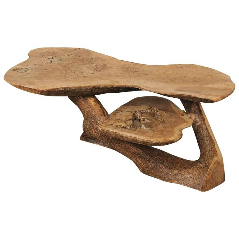 Vintage Rustic Freeform Tree Slab Coffee Table For Sale At: Spanish Cypress Wood Two-Tiered Coffee Table With Natural