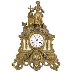 Late 19th Century Gilt Brass Figural Mantel Clock