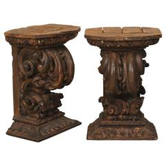 Pair of Late 18th Century Italian Carved Brown Wood Fragments Made Drink Tables