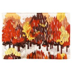"Mid Century ""Autumn"" Fiber Art Wall, Signed by Barbara M"