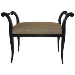 "Wonderful Black Lacquer ""Flared"" Bench"