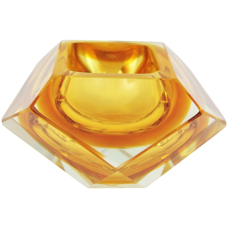 Flavio Poli Orange and Yellow Faceted Sommerso Murano Glass Bowl