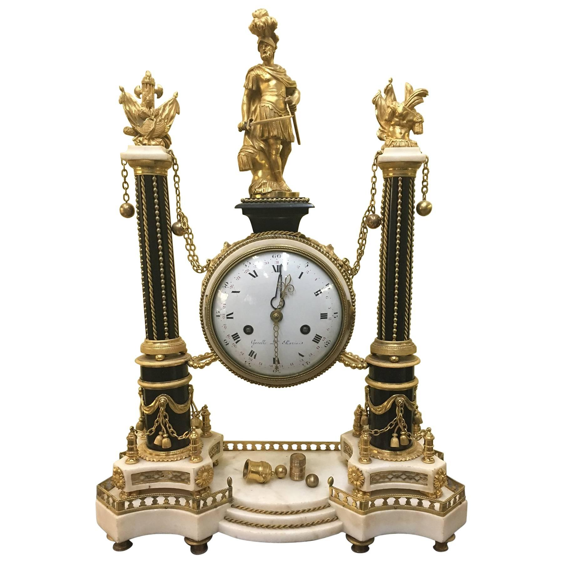 Large French, Louis XVI Period Marble and Ormolu Portico Clock