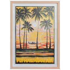 Vintage Fly Hawaiian Air Framed Poster