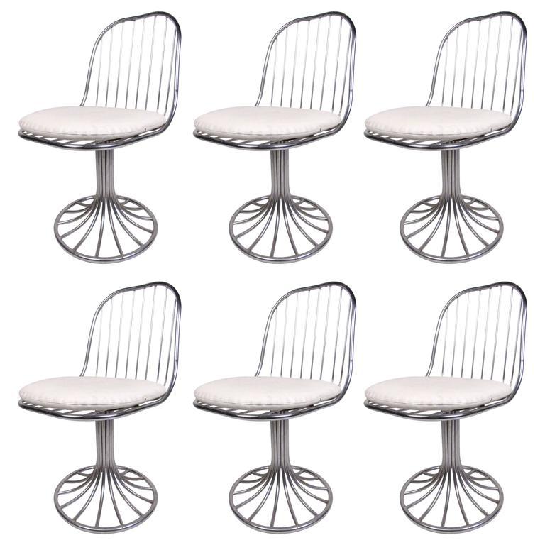 white swivel chair. Set Of Vintage Chrome Tulip Base Swivel Chairs White Chair I
