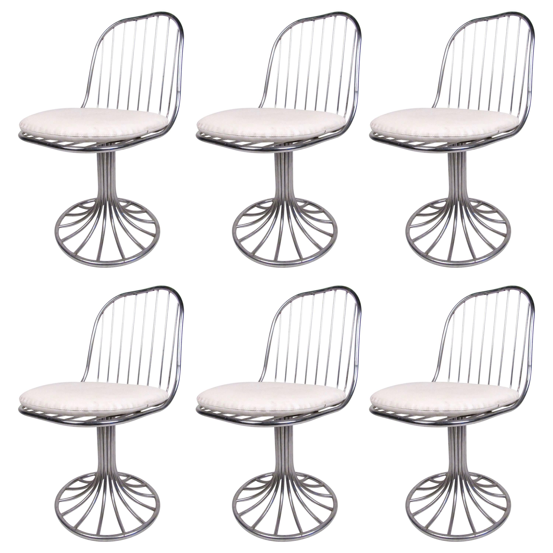 Set of Vintage Chrome Tulip Base Swivel Chairs