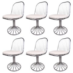 Set of Vintage Chrome Tulip Base Swivel Chairs