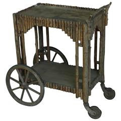 Antique Handcrafted Period Rustic Rolling Cart