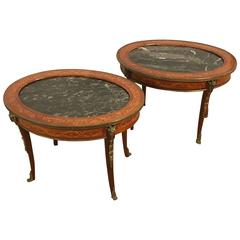 Pair of Louis XV Style Marble-Top Bronze-Mounted Coffee Tables