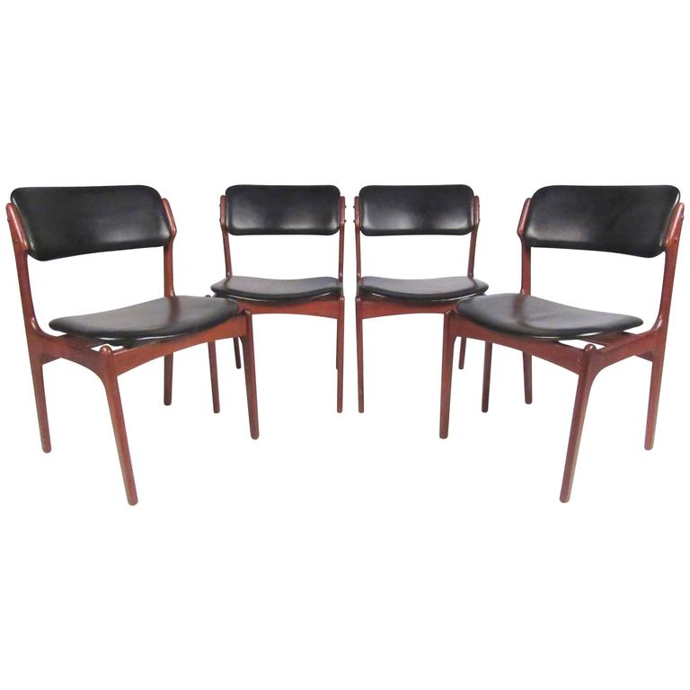 Set of Erik Buch Danish Teak Dining Chairs for Oddense