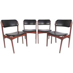 Set of Erik Buch Danish Teak Dining Chairs for Oddense