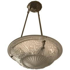 French Art Deco Pendant Chandelier by Schneider