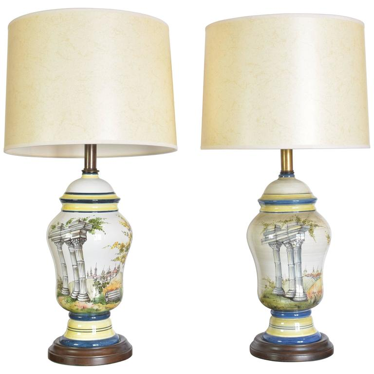 Pair of Mid-20th Century Frederick Cooper Ceramic Lamps