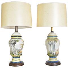 Pair of Mid-20th Century Frederick Cooper Ceramic Lamps