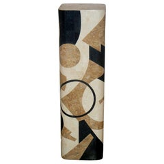 Maitland-Smith Abstract Inlaid Stone Pedestal